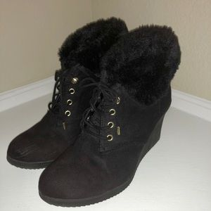 Women's Black Suede Wedge Ankle Boots
